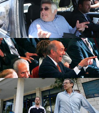 חלומו הרטוב של כל עיתונאי. כמה מגיבורי הפרשה החדשה, מלמעלה למטה: המתרים משה (מוריס) טלנסקי, ראש הממשלה אהוד אולמרט, היועץ המשפטי מני מזוז