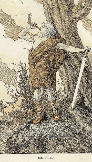 זיגפריד תוקע בקרן (מקור: פרוייקט גוטנברג)
