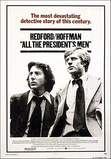 """כרזת הסרט """"כל אנשי הנשיא"""", עם רוברט רדפורד ודסטין הופמן"""