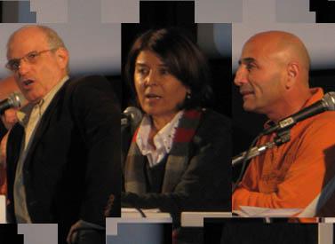 מימין: העיתונאים עפר שלח ורינה מצליח, פרופ' ירון אזרחי
