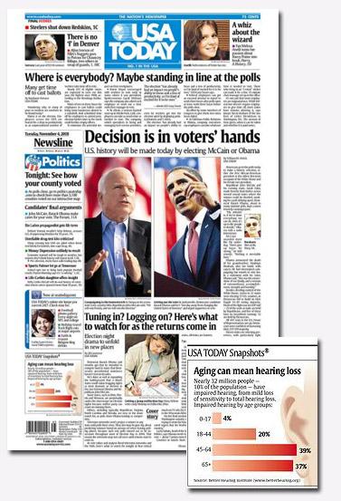 """שער ה""""USA Today"""" ביום הבחירות בארצות-הברית"""
