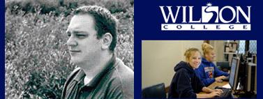 """מימין: סמל קולג' וילסון; ד""""ר מייקל קורנליוס (מתוך אתר המכללה)"""