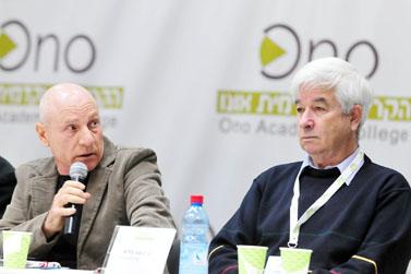 """אבינועם ברוג (מימין), מנכ""""ל חברת Market Watch, ודורי שדמון, מנכ""""ל חברת TNS/טלסקר, בכנס בקריה האקדמית אונו. מרץ 2009"""