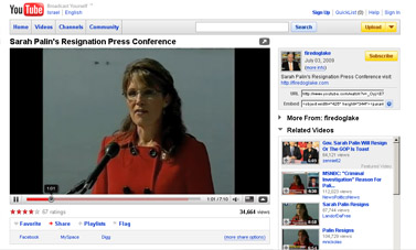 YouTube - Sarah Palin's Resignation Press Conference