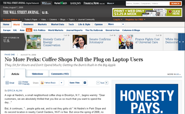 No More Perks- Coffee Shops Pull the Plug on Laptop Users - WSJ.com
