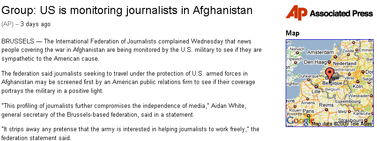The Associated Press- Group- US is monitoring journalists in Afghanistan