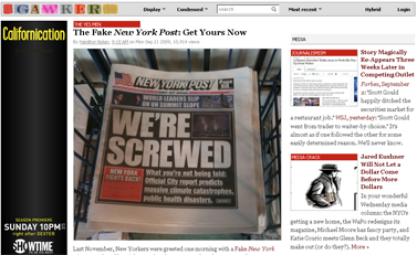The Fake New York Post- Get Yours Now - Media - Gawker
