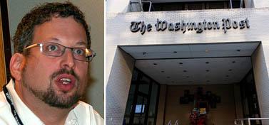 """הדלת לבניין ה""""וושינגטון פוסט""""; העיתונאי דן פרומקין (צילומים: EclecticBlogs, jdlasica; רישיון cc-by-nc-sa)"""