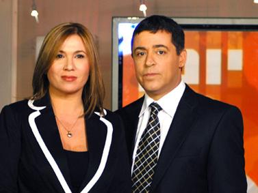 """מגישי """"יומן"""" בן כספית ואילה חסון (צילום: הערוץ הראשון)"""