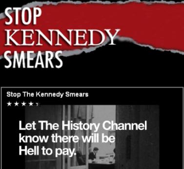 """""""עצרו את השמצת קנדי"""" (תצלום מסך: האתר שהקים רוברט גרינוולד)"""