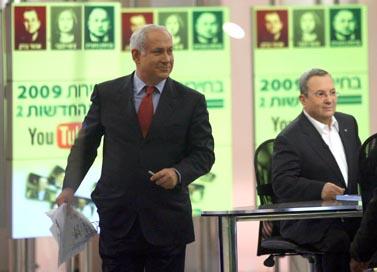 בנימין נתניהו בעימות טלוויזיוני באולפני ערוץ 2. 31.1.09 (צילום: גיל יוחנן)