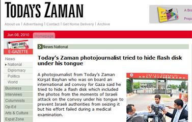 """(צילום מסך מתוך האתר """"Today's Zaman"""")"""
