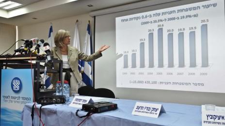"""מנכ""""לית הביטוח-הלאומי אסתר דומיניסיני מציגה את דו""""ח העוני והפערים החברתיים, 11.3.13 (צילום: יואב ארי דודקביץ)"""