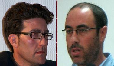 """מימין: העיתונאים קלמן ליבסקינד ורן רזניק (צילום: """"העין השביעית"""")"""