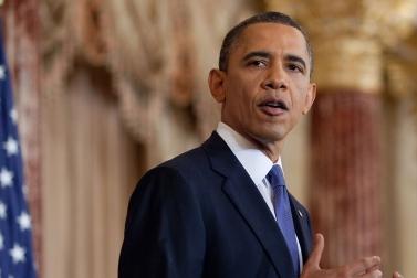 נשיא ארצות-הברית ברק אובמה נואם, אתמול (צילום: פיט סוזה, הבית-הלבן)