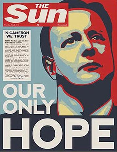 """שער """"הסאן"""" ערב הבחירות בבריטניה, בתמיכה במפלגה השמרנית ובמועמד דייוויד קמרון"""