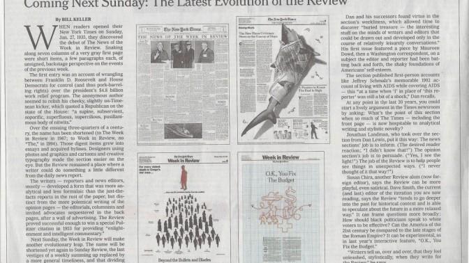 """ביל קלר, העורך היוצא של """"הניו-יורק טיימס"""", מודיע על השינוי ב""""Week In Review"""""""
