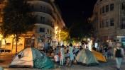 אוהלי מחאה נגד מחירי השכירות המאמירים, אתמול במרכז העיר ירושלים (צילום: יואב ארי דודקביץ')
