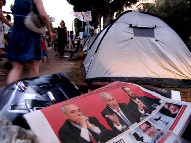 מאהל המחאה בשדרות רוטשילד בתל-אביב (צילום: שוקי טאוסיג)