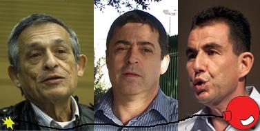 """מימין: העיתונאים ארי שביט, בן כספית ודן מרגלית (צילומים: ליאור מזרחי, """"העין השביעית"""", ניל מקאיי, רישיון cc)"""