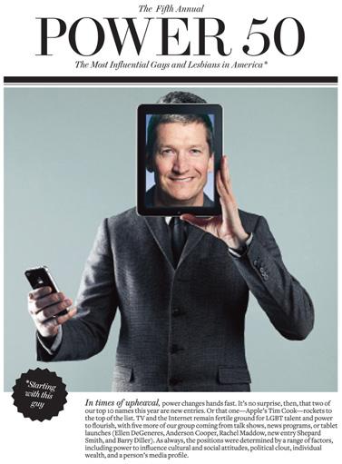 """מנכ""""ל אפל הנכנס טים קוק על שער רשימת ההומואים והלסביות המשפיעים של המגזין """"Out"""", אפריל 2011"""