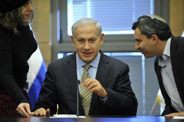 ראש הממשלה בנימין נתניהו בישיבת הליכוד בכנסת, 16.1.12 (צילום: יואב ארי דודקביץ')