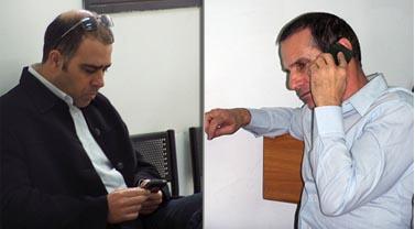 """עורך ynet יון פדר (מימין) ומנכ""""ל האתר אבי בן-טל, בדיון בבית-הדין לעבודה ביום חמישי האחרון (צילום: """"העין השביעית"""")"""