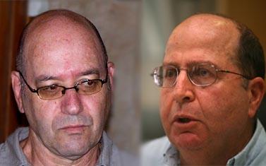 """הרמטכ""""ל לשעבר השר משה (בוגי) יעלון  ועיתונאי """"הארץ"""" אמיר אורן (משמאל) (צילומים: ליאור מזרחי ו""""העין השביעית"""")"""