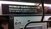 """מודעה ברכבת התחתית של ניו-יורק המציגה את מודל חומת התשלום של אתר ה""""ניו-יורק טיימס"""", יולי 2011 (צילום: ג'ייסון טסטר, גרילה פיוצ'ר, רישיון cc-by-nd)"""