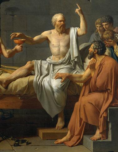 """""""מותו של סוקרטס"""" (פרט), ז'אק-לואי דויד, 1787 (נחלת הכלל)"""