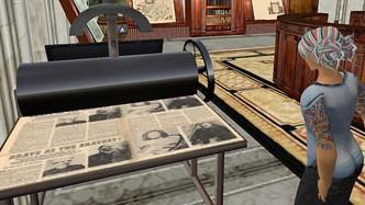 """מכונת דפוס להדפסת עיתונים ביקום הווירטואלי של """"סקנד לייף"""" (צילום: אמי ב', רשיון cc-by-sa)"""
