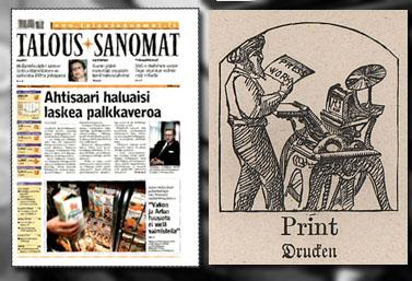 """מימין: שער הגיליון האחרון של ה""""טאלוסאנומאט"""" הפיני; תחריט מ""""ספר החפצים המאויר של קאנטנר"""", 1892"""