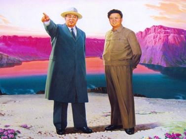 ציור קיר בקוריאה-הצפונית מציג מפגש בין שני מנהיגי המדינה לשעבר (צילום: yeowatzup, רישיון CC BY 2.0)