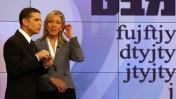 """ינון מגל ומרב מילר במערכת """"מבט"""", מהדורת החדשות המרכזית של הערוץ הראשון, 10.2.08 (צילום: אנה קפלן)"""