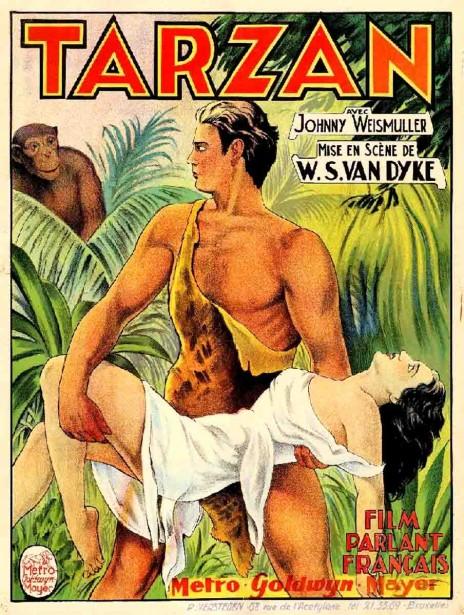 """כרזת הסרט """"טרזן"""", 1932 (צילום: Patrick Peccatte, רישיון CC BY-NC-ND 2.0)"""