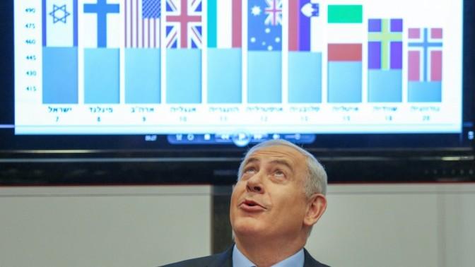 בנימין נתניהו, ראש ממשלת ישראל, אתמול במסיבת העיתונאים שהציגה את תוצאות תלמידי ישראל במבחנים בינלאומיים (צילום: אורן נחשון)