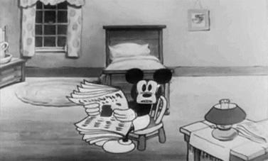 """(מתוך """"מיקי מאוס - תעלומת הגורילה"""", וולט דיסני, 1930)"""
