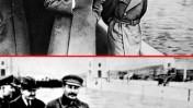 ניקולאי יז'וב (מימין בתמונה העליונה), ראש המשטרה החשאית הסובייטית, בתמונה עם סטלין משנות ה-30 של המאה ה-20. התמונה התחתונה, המצונזרת, הופצה לאחר שיז'וב הוצא להורג (צילום: לא ידוע, נחלת הכלל)