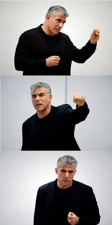 יאיר לפיד, אתמול בהרצאה בירושלים (צילום: יואב ארי דודקביץ')