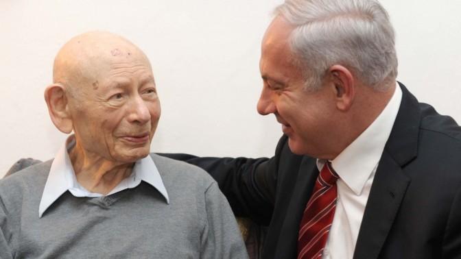 """ראש הממשלה בנימין נתניהו מבקר את אביו, בן-ציון נתניהו, אתמול לרגל מלאות לו 102 שנה (צילום: אבי אוחיון, לע""""מ)"""