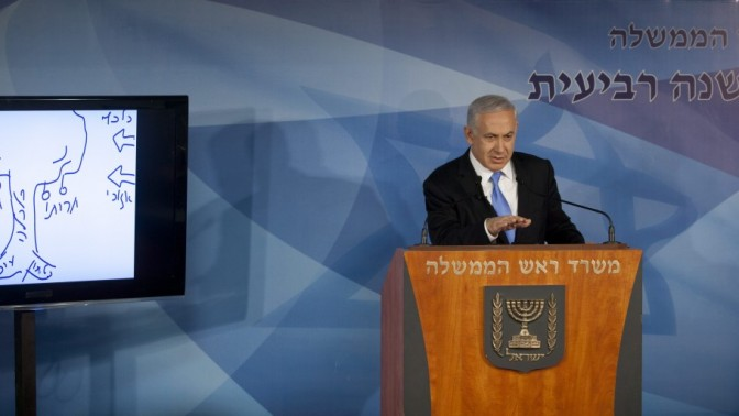 בנימין נתניהו, ראש ממשלת ישראל, אתמול במסיבת עיתונאים בירושלים (צילום: דוד ועקנין)
