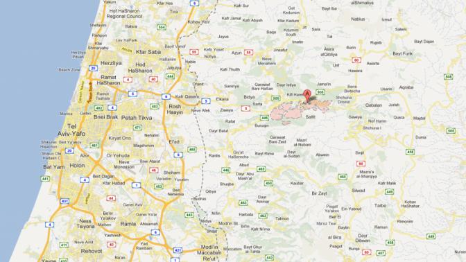ההתנחלות אריאל כפי שהיא מופיעה במפה של גוגל. משמאלה, גבול הריבונות של מדינת ישראל (צילום מסך: מפות גוגל)
