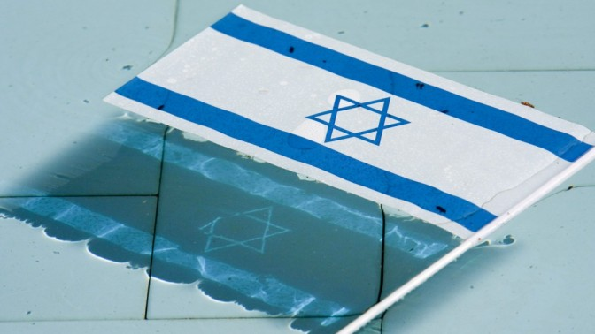 דגל ישראל צף בבריכה בהר הרצל (צילום: אורן נחשון)