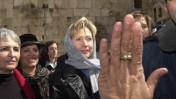 הילרי קלינטון בכותל המערבי, יוני 2002 (צילום: פלאש 90)