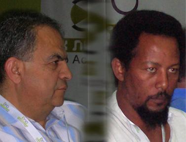 """כתב """"ידיעות אחרונות"""" דני אדינו אבבה (מימין) ופרשן """"א-שרק אל-אווסט"""" נזיר מג'לי"""