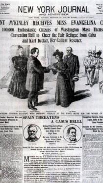 """""""הנשיא מקינלי מקבל את מיס אוונג'לינה סיסנרוס"""". שער של ה""""ניו-יורק ג'ורנל"""" לאחר מבצע החילוץ (ספריית הקונגרס, צילום מתוך הספר)"""