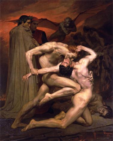 """דנטה ווירגיל בגהינום"", ויליאם אדולף בוגרו, 1850"