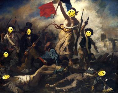 """""""החירות מובילה את העם"""", אז'ן דלקרואה, 1830 (עיבוד: שוקי טאוסיג)"""