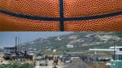 """""""כדורסל"""" (צילום: mvongrue; רשיון cc-by); כוחות צה""""ל בלבנון, 16.2.85 (צילום: יוסי זמיר)"""