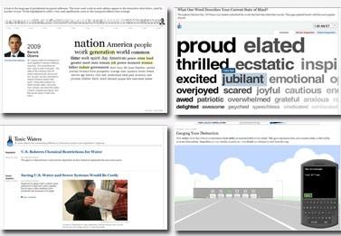 """פרויקטים של מחלקת החדשות האינטראקטיביות, מימין למעלה בכיוון השעון: """"רכבת המלים"""", """"מדידת הסחת דעת"""", מים רעילים"""", """"מלות חניכה"""" (צילומי מסך מתוך האתר)"""